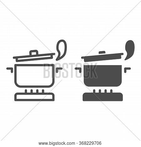 Pan With Steam On The Gas Stove Line And Solid Icon, Cooking Concept, Saucepan On Fire Sign On White