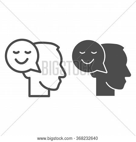 Person With Positive Thought Line And Solid Icon, Communication Concept, User With Speech Bubble Sig