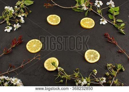 A Top View Lemon Slices Sour Mellow Juicy Around White Flowers On The Dark Floor
