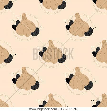 Black Garlic, Fermented Garlic Whole And Separated Cloves Vector Seamless Pattern Background.