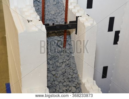 A Close-up On Insulating Concrete Forms Icf, Cast-in-place Concrete Walls That Are Sandwiched Betwee
