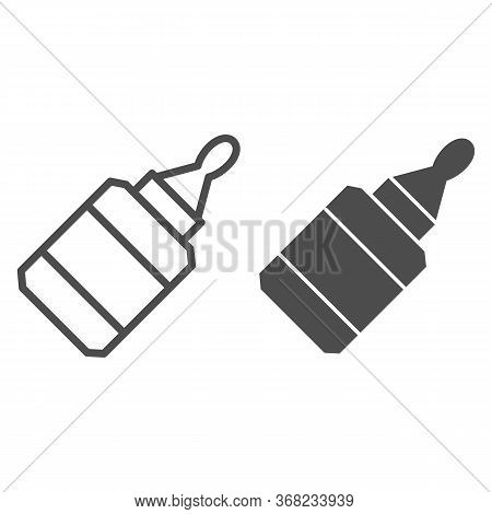 Glue Line And Solid Icon, Stationery Concept, Glue Bottle Vector Sign On White Background, Tube With