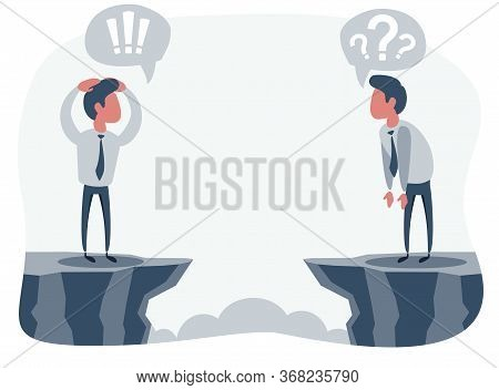 Businessmen Look Through The Gap At Each Other. Vector Flat Design Illustration.