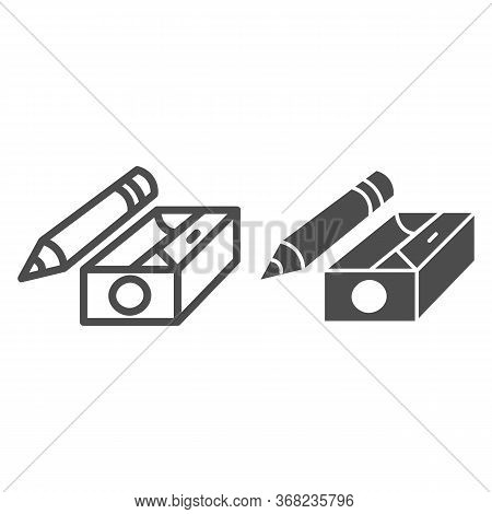 Pencil And Sharpener Line And Solid Icon, Stationery Concept, Sharpened Wooden Pencil Sign On White