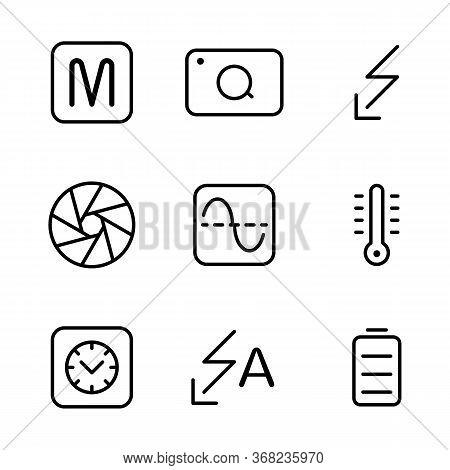 Photo Editor Icon Set Include Camera, Manual, Option, Device, Photo, Picture, Flash, Shutter, Histog