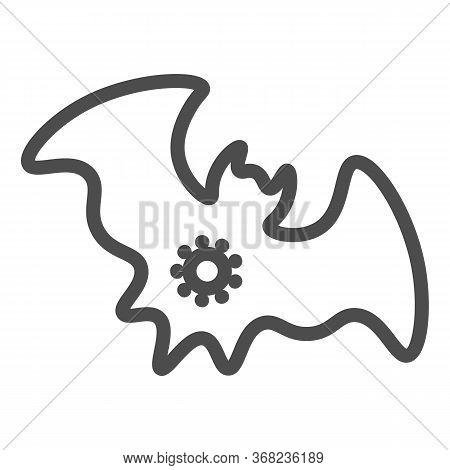 Bat And Virus Transmission Line Icon, Coronavirus Epidemic Concept, Virus On Bat Sign On White Backg