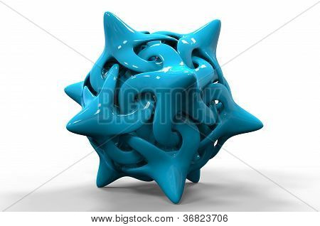 3D Rendering Of An Abstract Interlocked Curvy Shape