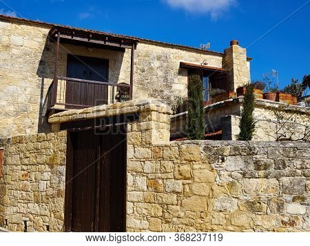 Beautiful Authentic Tradional Cypriot Coutry Village House Build Of Stone - Kathikas Cyprus - July 2