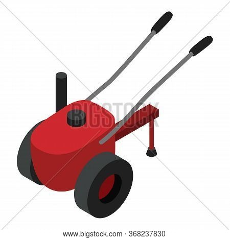 Walk-behind Tractor Icon. Isometric Of Walk-behind Tractor Vector Icon For Web Design Isolated On Wh