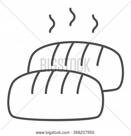 Hot Loaf Thin Line Icon, Bakery Concept, Bread With Steam Sign On White Background, Loaf Of Bread Ic