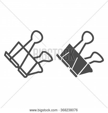 Binder Clip Line And Solid Icon, Stationery Concept, Office Clip Vector Sign On White Background, Me