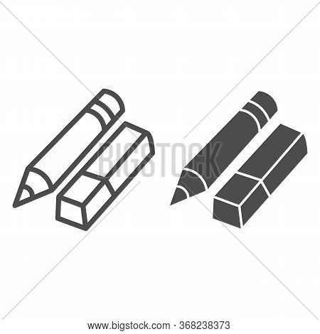 Eraser And Pencil Line And Solid Icon, Stationery Concept, School Drawing Tools Sign On White Backgr
