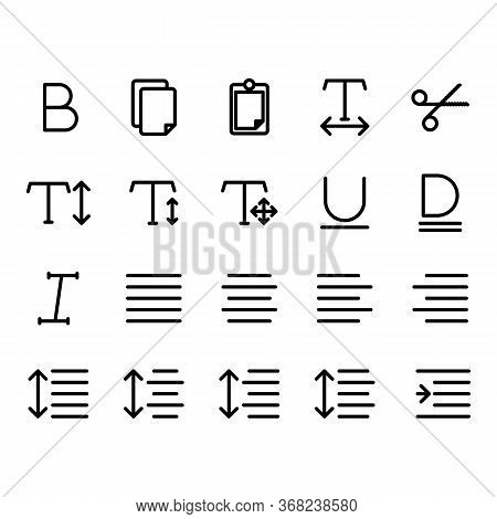 Editing Text Icon Set Include Text, Bold, Edit,design,document, Copy,paste,horizontal,editor,cut,sci