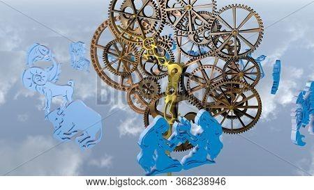 Zodiac Horoscope, 12 Zodiac Signs And A Clockwork. 3d Rendering