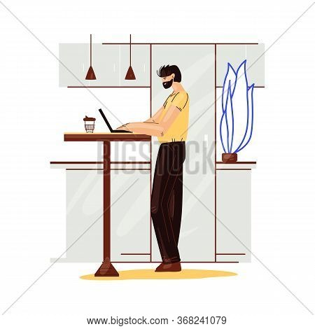 Freelance Man Work In Comfortable Cozy Home Office In Kitchen Vector Flat Illustration. Freelancer M