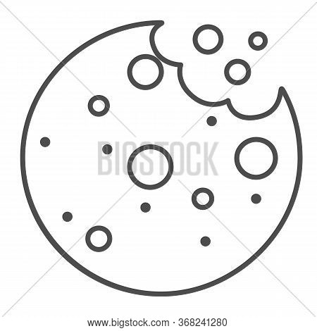 Tasty Cookies With Crumbs Thin Line Icon, Bakery Concept, Biscuit Sign On White Background, Chocolat