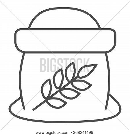 Flour In Open Bag Thin Line Icon, Bakery Concept, Bag Of Grain Sign On White Background, Sack Of Flo