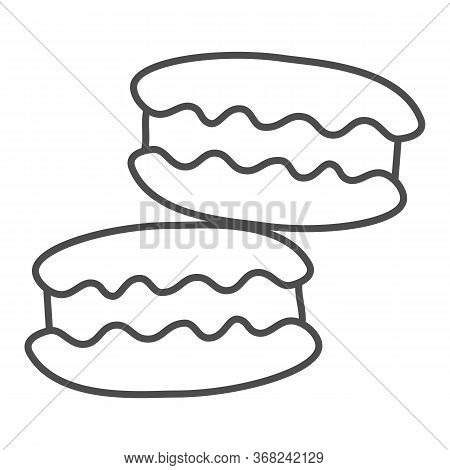 Macaroon Thin Line Icon, Confectionary Concept, Macaroon Sweet Dessert Sign On White Background, Mac