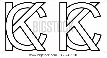 Logo Sign Kc And Ck Icon Sign Two Interlaced Letters K, C Vector Logo Kc, Ck First Capital Letters P
