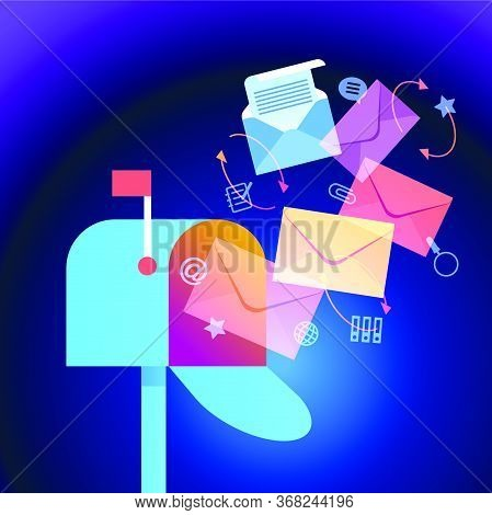 E-mail Concept . Marketing E-mail . Mailbox And Colored Envelopes Surrounded By Icons . File Is Save