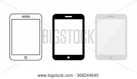 Set Of Tablet Computer Illustration. Outline, Icon, And Flat Design Style Of Tab Vector