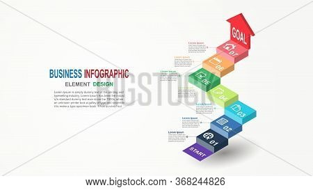 Infographics Business Template 3d Stairs With Arrow 7 Steps For Presentation, Business Template With