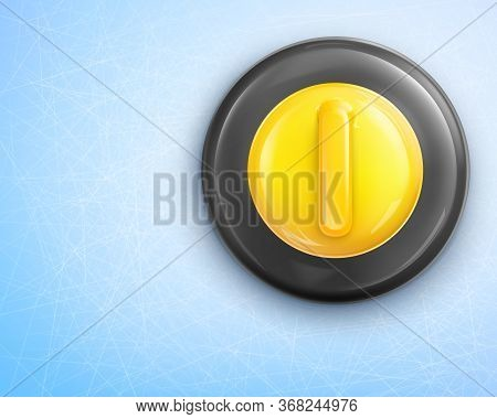 Curling Stone With Yellow Handle Isolated On Blue Background. Equipment For Sport Game And Activity
