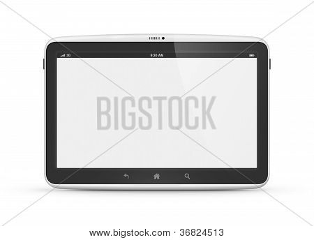 Modern digital tablet computer with blank screen isolated on white. poster