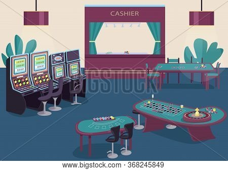 Gambling Flat Color Vector Illustration. Slot And Fruit Machines Row. Green Table To Play Poker. Bla