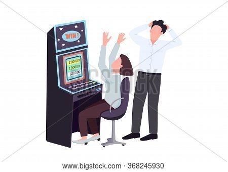Gambler Flat Color Vector Faceless Characters. Woman Win At Slot Machine. Man Watch Female Gambler.
