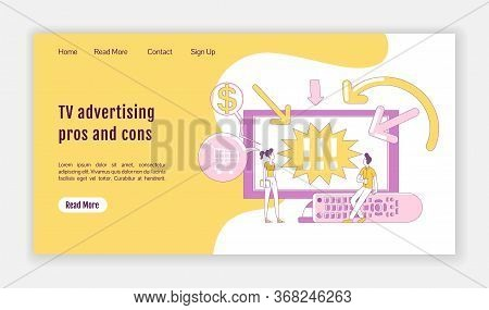 Tv Advertising Pros And Cons Landing Page Flat Silhouette Vector Template. Digital Marketing Homepag