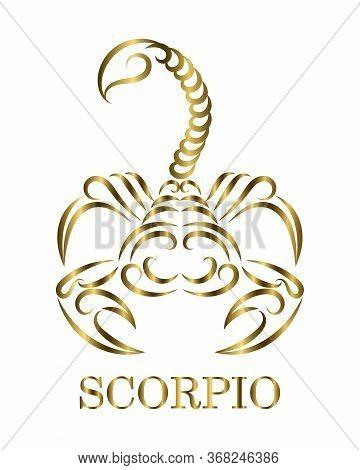 Golden Line Vector Logo Of A Scorpion. It Is Sign Of Scorpio Zodiac.