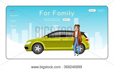For Family Landing Page Flat Color Vector Template. Automobile Dealership Service Homepage Layout. C