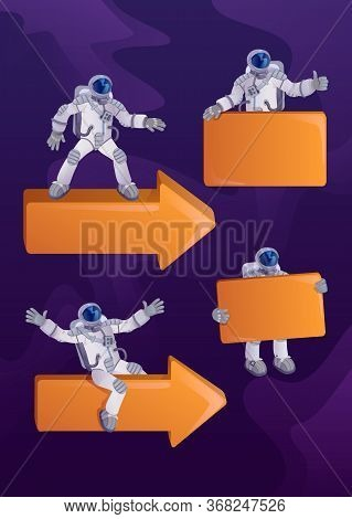 Astronaut In Spacesuit 2d Cartoon Character Illustrations Kit. Cosmonaut With Arrows And Banners. Re