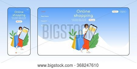Online Shopping Adaptive Landing Page Flat Color Vector Template. Internet Store Mobile And Pc Homep