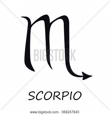 Scorpio Zodiac Sign Black Vector Illustration. Celestial Scorpion Esoteric Silhouette Symbol. Astrol