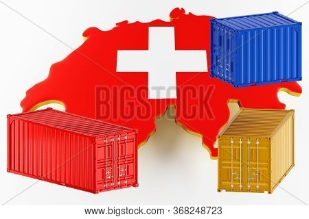 3d Map Of Switzerland. Freight Shipping In Containers. Export From The Country In Containers. 3d Ren