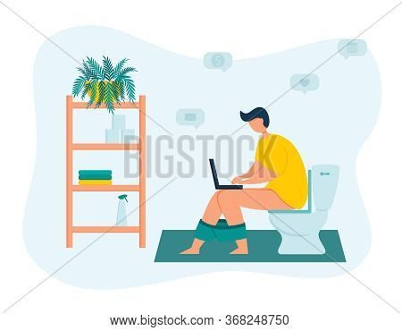 A Young Male Freelancer Is Working On A Laptop While Sitting On The Toilet In The Toilet Room. Worka