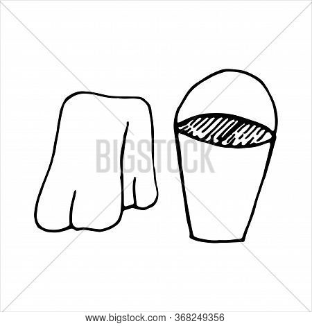 Vector Isolated Element In Doodle Style, Bucket And Rag For Cleaning, Cleanliness, Coloring Book