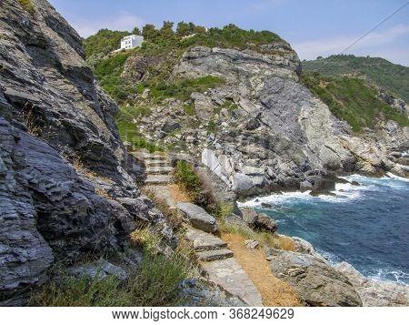 Scenery Around Agios Ioannis Sto Kastri At Skopelos Island At The Sporades In Greece