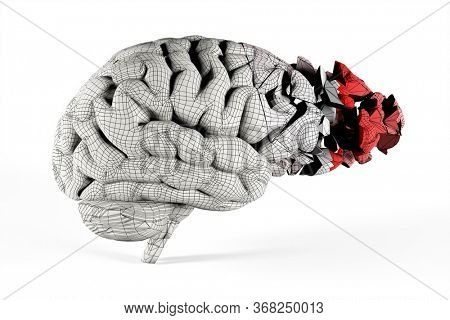 Shattered brain covered with mesh. Conceptual 3d illustration helpful for in visualizing brain diseases.