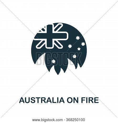 Australia On Fire Icon From Australia Collection. Simple Line Australia On Fire Icon For Templates,