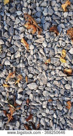 Small Road Stone Background, Dark Gravel Pebbles Stone Texture