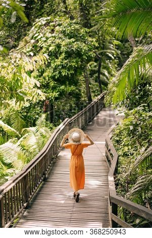 Young Woman Wearing Straw Hat, Standing Relax In The Jungle Park, Feeling Freedom. Lifestyle Relax T