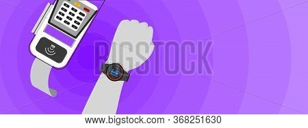 The Vector Of Paying With Smart Watch , Scanning With Electronic Data Capture.