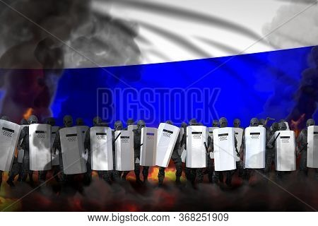 Russia Protest Fighting Concept, Police Officers In Heavy Smoke And Fire Protecting Government Again