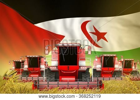 Industrial 3d Illustration Of Some Red Farming Combine Harvesters On Rural Field With Western Sahara