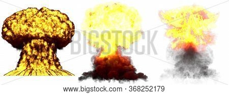 3 Large Very High Detailed Different Phases Mushroom Cloud Explosion Of Hydrogen Bomb With Smoke And