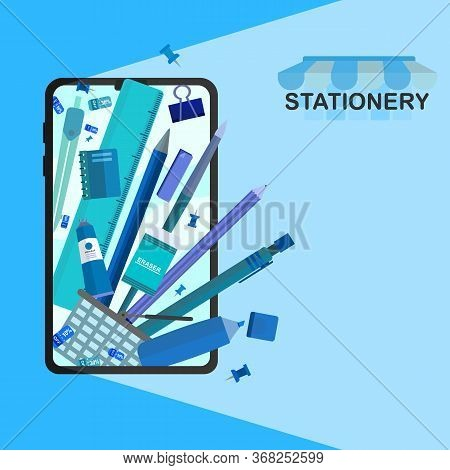 A Vector Banner Of Stationery Online Store On Mobile Phone, Office Supplies, School Object.