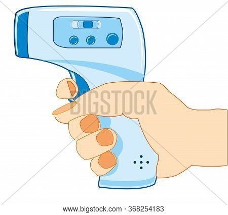 Noncontact Thermometer In Hand Of The Person